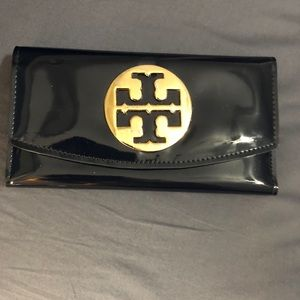 Navy Blue Leather Tory Burch Wallet